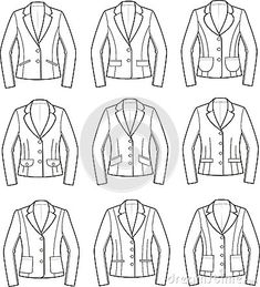 Coming soon I will evaluate which of these designs is the most flattering and slimming, and why.  More to come.    stock illustration model sketch template jacket suit women vector  | Jackets Stock Photos - Image: 31724573