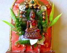 Buddha sitting in the center of oneness mixed media Altar shrine mosaic