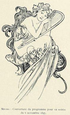 1897 Art Nouveau Program Cover by Alphonse Mucha