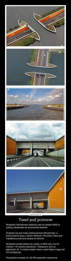 """Tunel pod jeziorem – Akwedukt Veluwemeer położony jest na drodze N302 w pobliżu Harderwijk we wschodniej Holandii.  Znajduje się pod małą częścią jeziora Veluwemeer, a jednocześnie łączy z lądem Holandii, Flevoland, który jest największą sztuczną wyspą na świecie.  Akwedukt został oddany do użytku w 2002 roku ma 25 metrów i 19 metrów szerokości. """"Zatopiony"""" jest na głębokość ok. 3 metrów dzięki czemu małe łodzie mogą nad nim przepłynąć.  Przejeżdża tamtędy ok. 28 000 pojazdów codziennie."""