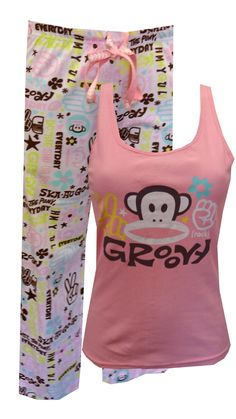 """Paul Frank Groovy Julius Tank and Capri Pajama Set, $26 Julius is ready to rock! These fun pajamas for women feature a pale pink 2x2 rib racer-back tank paired with drawstring and elastic waist capri pants (inseam 21""""). The 100% knit cotton capri pants are adorned with throwback phrases and images in an array of soft pastel colors. Machine washable and easy care. Junior cut."""