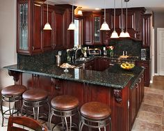 Fall Inspired kitchen remodels- deep cherry wood, warm maple wood, and rustic green granite Kitchen Paint, Kitchen Redo, Rustic Kitchen, Kitchen Dining, Kitchen Remodel, Kitchen Ideas, Kitchen Walls, Kitchen Cupboard, Cherry Wood Kitchens