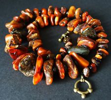 """Natural Baltic Amber rare color beads necklace  22"""" 53 g"""