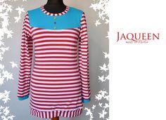 Longsleeve rot weiß gestreift mit Knöpfen von Jaqueen auf DaWanda.com