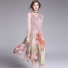Three Quarter Sleeve Small Shirt Printing One Piece Dress Long Dress Two-Piece Suit