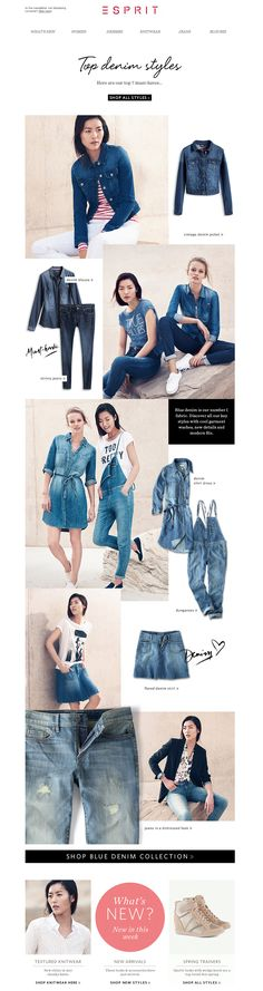 #newsletter Esprit 02.2014  Your top 7 styles in blue denim!