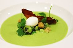 English pea and mint veloute with crisp pancetta - a delicious and fresh dish from our Spring/Summer 2014 menus