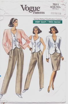 1980s Vogue Pattern 7511 Womens Above Hip Jacket by CloesCloset, $10.00....SO TIMELESS...wonderful in the 80's and now too!