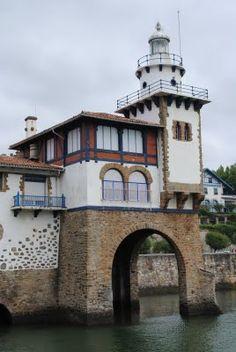Lighthouse on Spanish Coast Gaurd Building in Getxo, Spain.
