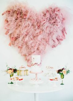 Ethereal Dessert Table With Fluffy Blush Pink Heart Decor
