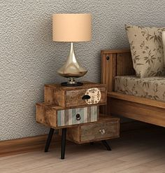 Add dimension to your space with the stacked looks of the industrial-chic Savanah Bedside Table from Channel Enterprises.