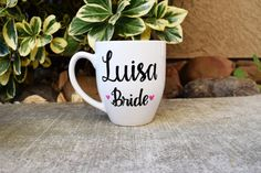 Set of 4 Customized Bridesmaids coffee mugs Maid by MakeLoveLive
