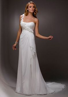 One Shoulder Sheath/ Column Sleeveless Lace up Floor Length Chiffon Wedding Dress - Angeldress.co.uk
