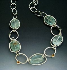 Natural Aquamarine Necklace in Silver Chain by ZeniaLisJewelry