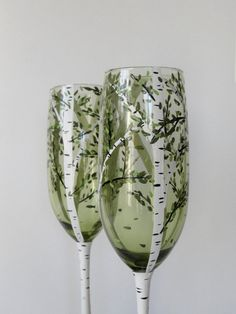 BIRCH TREE  FLUTES Hand Painted Champagne Glasses by HiMaria