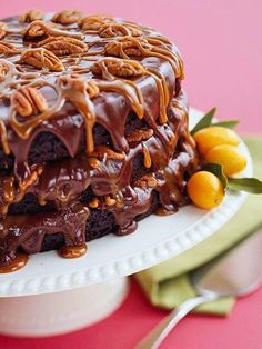 Cafe Latte's Turtle Cake | Midwest Living - I make this cake all the time and its always amazing! It's even better to have at Cafe Latte!