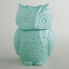 Aqua Owl Cookie Jar Pinned by www.myowlbarn.com