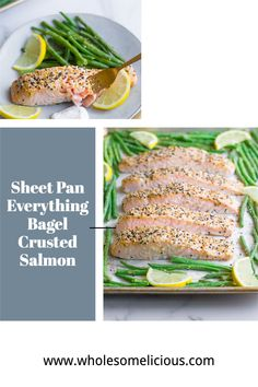 Paleo, Whole30 and gluten free, this recipe for Sheet Pan Everything Bagel Crusted Salmon is the perfect lunch or dinner. Best Paleo Recipes, No Dairy Recipes, Meat Recipes, Food Processor Recipes, Lemon Tahini Sauce, Lemon Tahini Dressing, Lemon Green Beans, Roasted Green Beans, Seasoned Green Beans