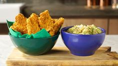 Doritos-crusted chicken strips with a side of guacamole