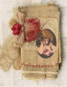 "THIS IS AMI XED MEDIA FABRIC COLLAGE BOOK OF LITTLE GIRLS WITH RED ROSES. I USED PARTS OF A ROBERT BURNS POEM ON THE PAGES. IT MEASURES APPROX. 5 1/2"" X 9"". 