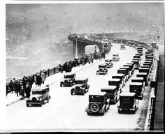 Traffic clogs up the Ambassador Bridge, 1929.    Note the pedestrian traffic. Are you hopeful the new bridge to Canada will allow foot & bike traffic?    Photo courtesy of Walter P. Reuther Library of Labor & Urban Affairs, Wayne State University. PureDetroit.com