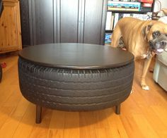 Repurposing my used truck tire into furniture was a great way to put a durable, used item to work for another lifetime.  We haven't had a coffee table...