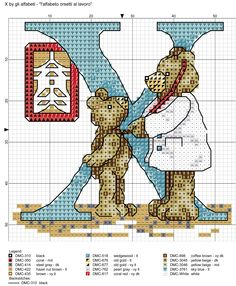 alfabeto orsetti al lavoro: X