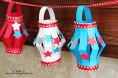 red white and blue paper lanterns - jubilee garden decorations