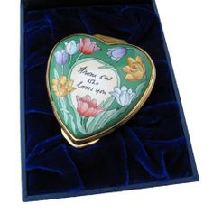 TRINKET BOX HALCYON DAYS ENAMELS FLOWER FAIRIES HEART SHAPED BOX
