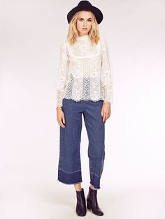 Dahlia Hayley White Lace Victoriana Blouse with Bib Detail