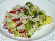 arroz com calabresa e brocolis