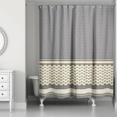 Mixed Chevron Shower Curtain in Mellow Yellow/Grey - BedBathandBeyond.com
