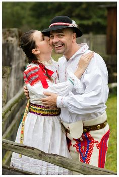 A Happy Modern Couple Wearing Slovak Traditional Dress (Kroj)