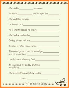 Father's Day - Hilarious what kids say (even older kids).  I'm so doing this!