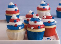 Red White  Blue Cupcakes @Sarah Chintomby Newsome
