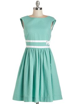 Refreshing Arrival Dress. Wear the uplifting, spearmint-blue hue of this ModCloth-exclusive dress for any graceful gathering. #green #modcloth
