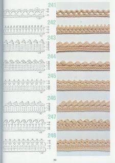 Crochet Edgings Design Free crochet edging patterns (diagram) from a japanese magazine.so pretty! More - Padrões de crochet Crochet Border Patterns, Crochet Lace Edging, Crochet Motifs, Crochet Diagram, Quilt Patterns Free, Crochet Trim, Crochet Stitches, Filet Crochet, Crochet Flowers