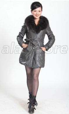 Sheepskin Real Leather Down Jacket For Women In 2013, Fox Fur Collar, Fashion And Luxury Fur Jacket For Women On Hot Sale