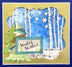 Winter Wishes Card by Lauren Bergold; Snowflake Brads and Pearl Bling by Eyelet Outlet: