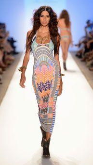 A model wears a maxi dress from the Mara Hoffman show - Mercedes-Benz Fashion Week Swim 2013
