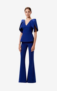 V-neck, peplum top with lotus sleeve drape in skiathos blue. Styled with the skiathos blue Halluana trousers. Fashion Colours, Colorful Fashion, Suits For Women, Clothes For Women, Ladies Suits, Work Clothes, Blazer Outfits, Colourful Outfits, Wide Leg Jeans