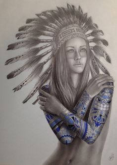 native girl tattoo by Davide Franceschini