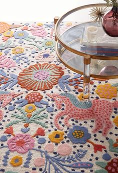 Wool Area Rugs, Wool Rug, Tapete Floral, Floral Rugs, Punch Needle, Rug Making, Room Inspiration, Decoration, Sweet Home