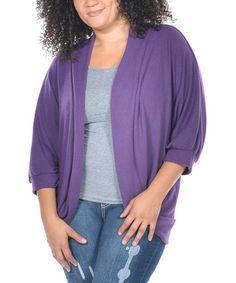 Another great find on #zulily! Purple Three-Quarter Sleeve Open Cardigan - Plus #zulilyfinds