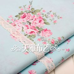 Cotton fabric, shabby chic, floral fabric, fabric bundle of 2, 0.5m each, fabric set, Tilda style