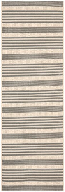 Inspired by simple yet classic striped patterns, this attractive indoor/outdoor rug boasts fine navy stripes and bold ribbons of color for a contemporary styled floor covering. Suitable for areas inside and outside the home, this all-purpose area rug is constructed using a sisal weave of synthetic yarns for easy-clean, care-free maintenance. A thin coat of latex is applied to the underside of the rug to secure the yarns firmly in place. This latex coat is virtually invisible and is not c...