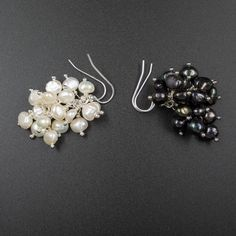 Freshwater pearl cluster earrings,  natural cream, black cluster drop earring, handmade pearl earrings, pearl jewelry, gemini earrings by CretanHareCreations on Etsy