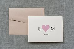 Ivory and Blush Pink Heart Wedding Thank You Card  by LamaWorks