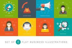Flat business illustrations set #banner #header