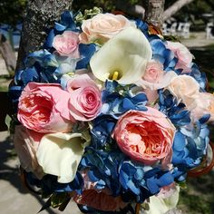 Blue #hydrangea, #whitecalla and #pinkpeonies are the colors and flowers of this customized bridal bouquet Check us out!!! #flawless Weddings and Events VI #stthomaswedding #stthomasweddingplanner #beachweddingsetup #beachweddings #flawlessweddingsandeventvi #cruiseshipweddings